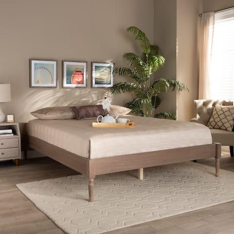 Colette French Bohemian Wood Platform Bed Frame