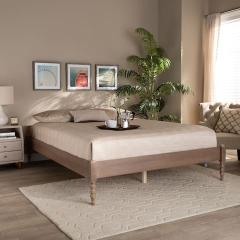 Cielle French Bohemian Wood Platform Bed Frame