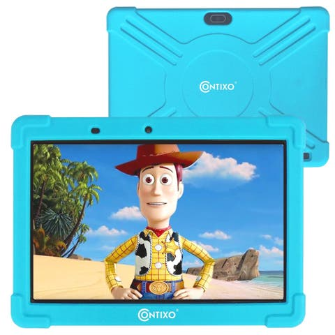 "Contixo 10"" K101 Kids Tablet Android 9.0 Bluetooth Dual WiFi Camera Tablet for Kids Parental Control w/Kid-Proof Case (Blue)"