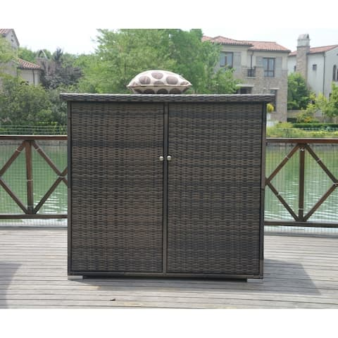Moda Outdoor Stillwater Patio Wicker Storage Bin Cabinet