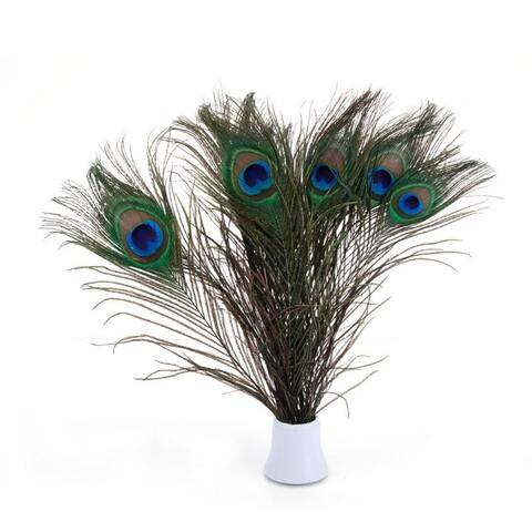 100pcs Beautiful Decoration Peacock Feathers Multi-Colored 25-30cm