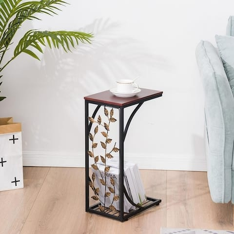Copper Grove Gada End Table with Leafy Accents
