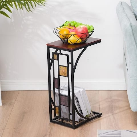 Copper Grove Gada End Table with Geometric Accents