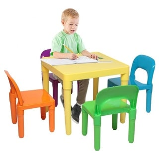 5 Pcs Set Plastic Kids Table And Chair for Children, One Desk And Four Chairs