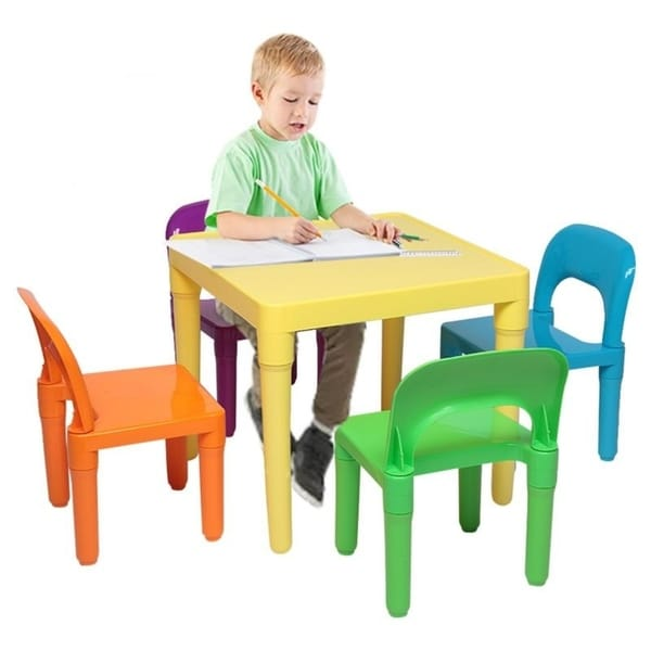 5 Pcs Set Plastic Kids Table And Chair for Children, One Desk And Four Chairs. Opens flyout.