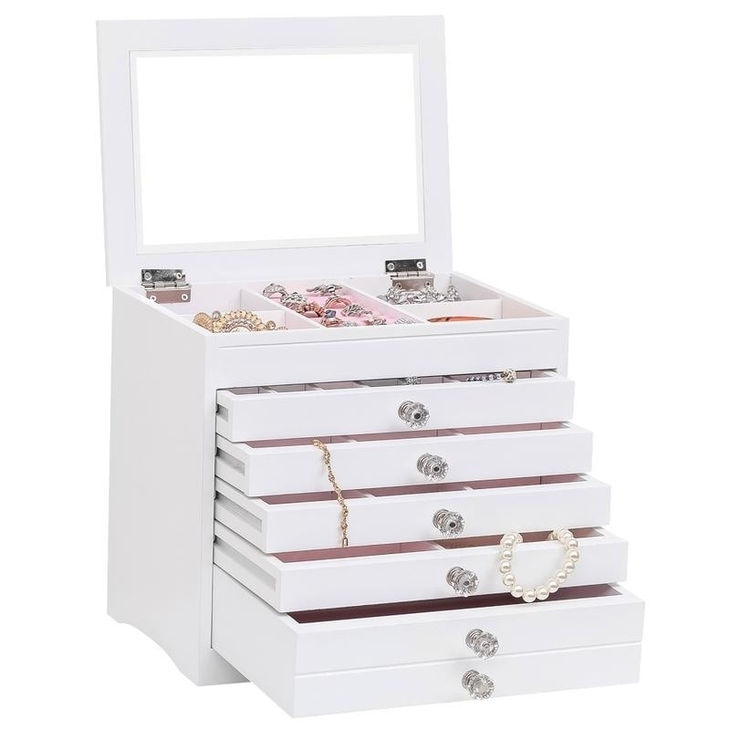 Wooden Large Jewellery Box Bracelet Necklace Storage Jewellery Organiser Cabinet