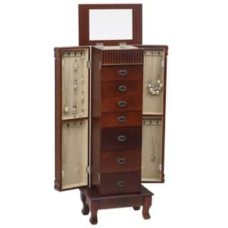 Standing Jewelry Armoire Cabinet Makeup Mirror and Top Divided Storage Organizer, Large Standing Jewelry Armoire Storage Chest