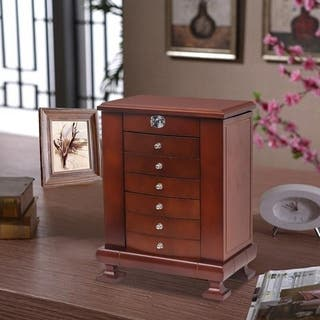 6 Drawers Large Wooden Jewelry Box , Built-in mirror and lock, double door drawer jewelry Storage Box