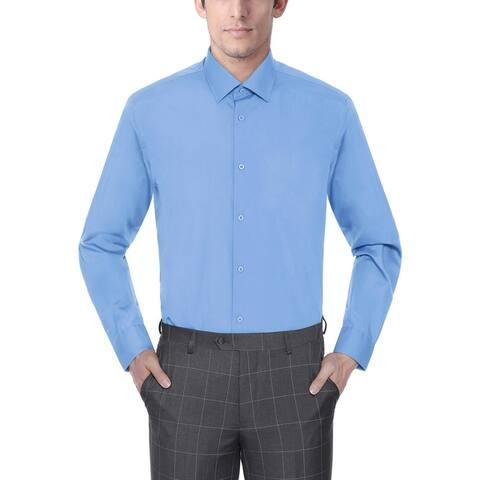 Zenbriele Men's Regular Fit Long Sleeve Solid Dress Shirt