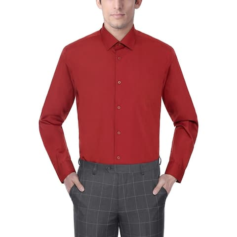 Zenbriele Men's Regular Fit Long Sleeve Solid Dress Shirt