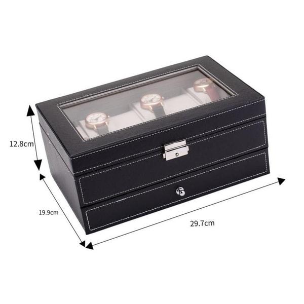 12 Slots Watch Box Organizer Jewelry Display Case Glass Faux Leather