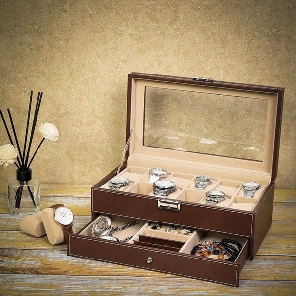 12 Slots Watch Box Organizer Jewelry Display Case Glass Faux Leather. Opens flyout.