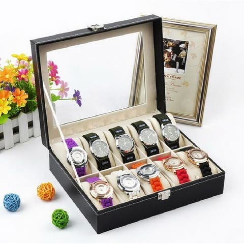 6 to 24 Slots Compartments Top-level Opening Style Leather Watch Collection Box