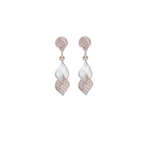 14kt Gold Natural Diamond Dangle Earring Handmade Jewelry with Jewelry Box