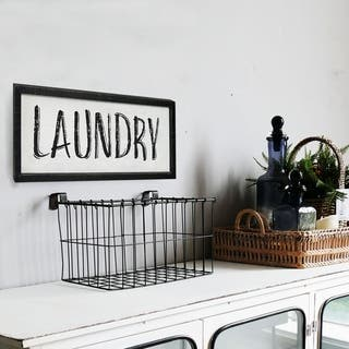 Black Framed Laundry Word Sign with Distressed Finish