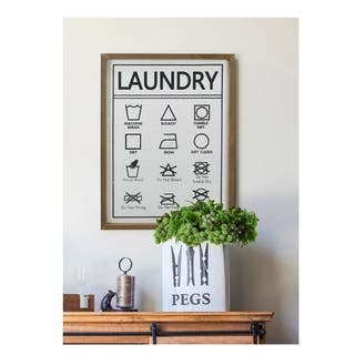 Framed Laundry Symbols Guide Wood Wall Sign