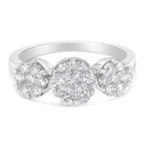 14K White Gold 1 1/4ct TDW Diamond Floral Cluster Ring (H-I, SI2-I1)