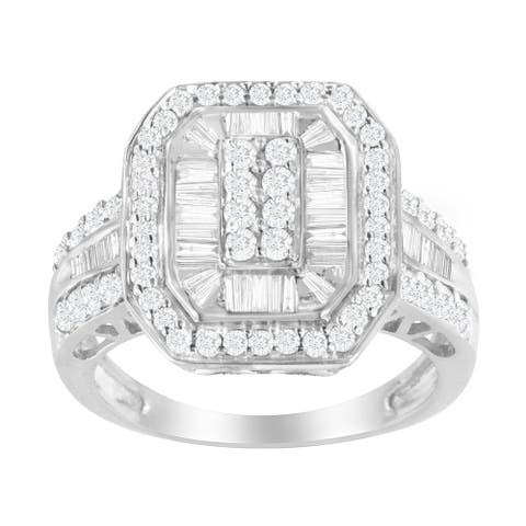 Sterling Silver 1ct. TDW Round & Baguette Diamond Ring (I-J, I2-I3)
