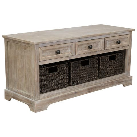 Oslember Storage Bench including Drawers and Baskets