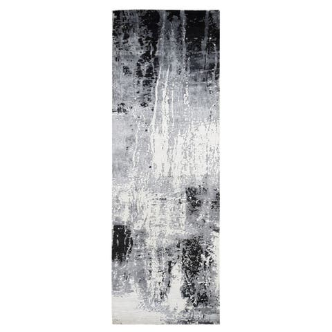 "Shahbanu Rugs Black Abstract Design Wool and Silk Wide Runner Hand Knotted Oriental Rug (4'2"" x 13'1"") - 4'2"" x 13'1"""
