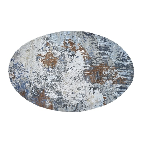 """Shahbanu Rugs Honey Brown Oval Abstract Design Wool And Pure Silk Hand Knotted Round Oriental Rug (6'0"""" x 9'0"""") - 6'0"""" x 9'0"""""""