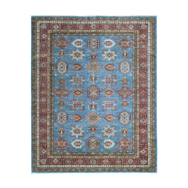 "Shahbanu Rugs Blue Super Kazak Geometric Design Pure Wool Hand Knotted Oriental Rug (8'0"" x 10'3"") - 8'0"" x 10'3"""