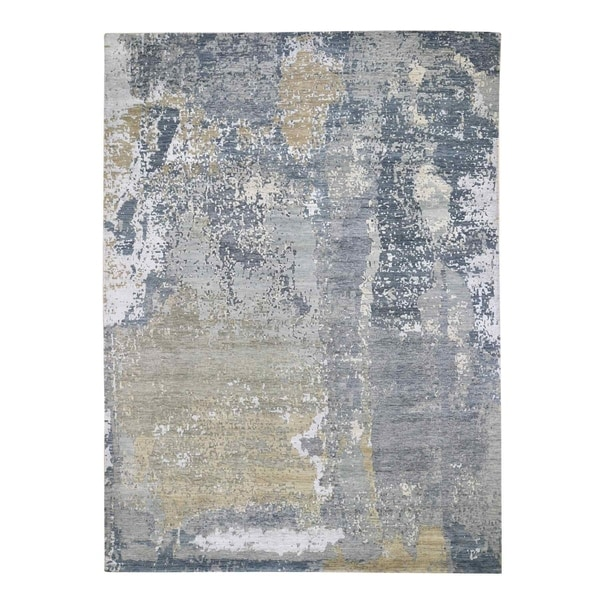 """Shahbanu Rugs Gray Abstract Design Denser Weave Wool and Silk Hi-Low Pile Hand Knotted Oriental Rug (8'9"""" x 12'3"""")"""