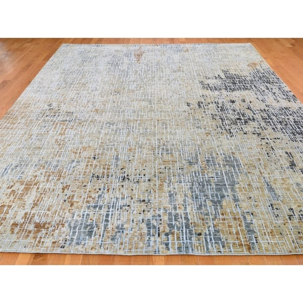 Shahbanu Rugs Beige Abstract Design Wool And Silk Tight Knot Hand Knotted Oriental Rug 9 0 X 12 0 9 0 X 12 0 On Sale Overstock 29789931