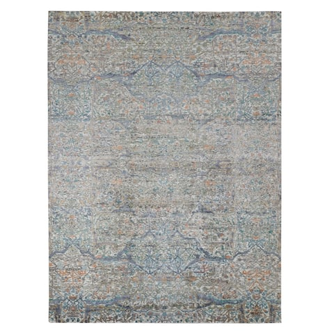 "Shahbanu Rugs Colorful Bijar Garus Design Silk with Textured Wool Hand Knotted Oriental Rug (9'0"" x 12'2"") - 9'0"" x 12'2"""