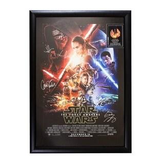 Cast Signed StarWars The Force Awakens Framed Movie Poster