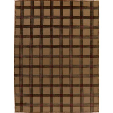 """Nepal Transitional Geometric Carpet Hand Knotted Wool Indian Area Rug - 12'3"""" X 9'1"""""""