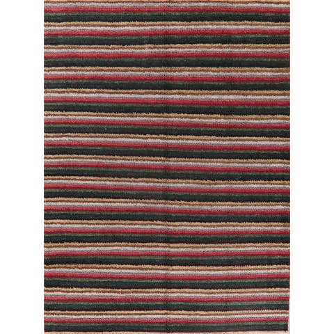 """Modern Stripe Hand Knotted Silk Carpet Indian Transitional Area Rug - 11'0"""" X 8'3"""""""