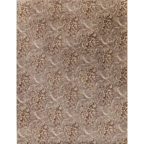"""Damask Oriental Transitional Carpet Hand Knotted Wool Indian Area Rug - 11'9"""" X 9'1"""""""