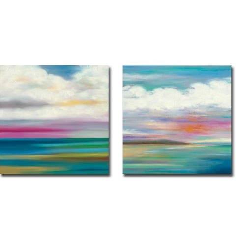 Moving Clouds 1 & 2 by Mary Johnston 2-pc Gallery Wrapped Canvas Giclee Art Set (24 in x 24 in Each Canvas in Set)