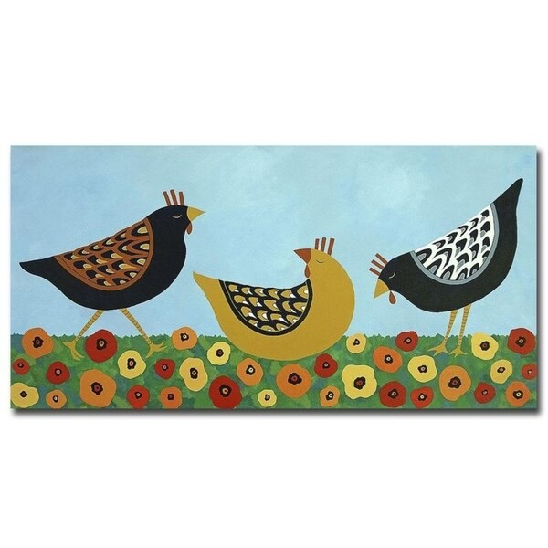 Hens and Poppies by Casey Craig Gallery Wrapped Canvas Giclee Art (16 in x 32 in)