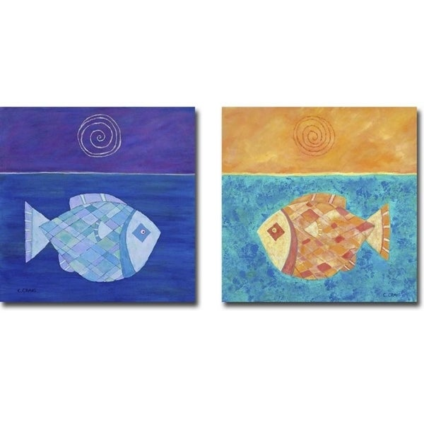 Fish with Spiral Moon & Sun by Casey Craig 2-pc Gallery Wrapped Canvas Giclee Art Set (18 in x 18 in Each Canvas in Set)