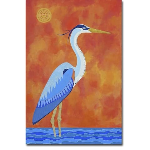 Blue Heron by Casey Craig Gallery Wrapped Canvas Giclee Art (27 in x 18 in)