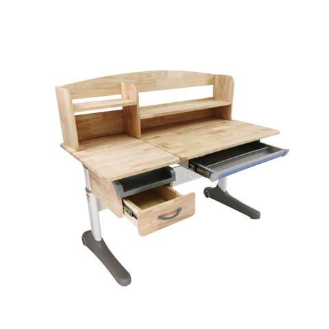 "Real Wood Height Adjustable Children Writing Desk With Tilt Desktop 47"" W"