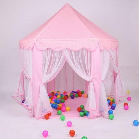 Princess Castle Play House Large Outdoor Kids Play Tent for Girls Pink/ Blue - N/A
