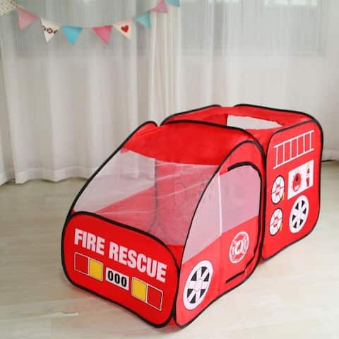 """55"""" Fire Engine Design Folding Portable Playpen Tent Play Yard Red - N/A"""