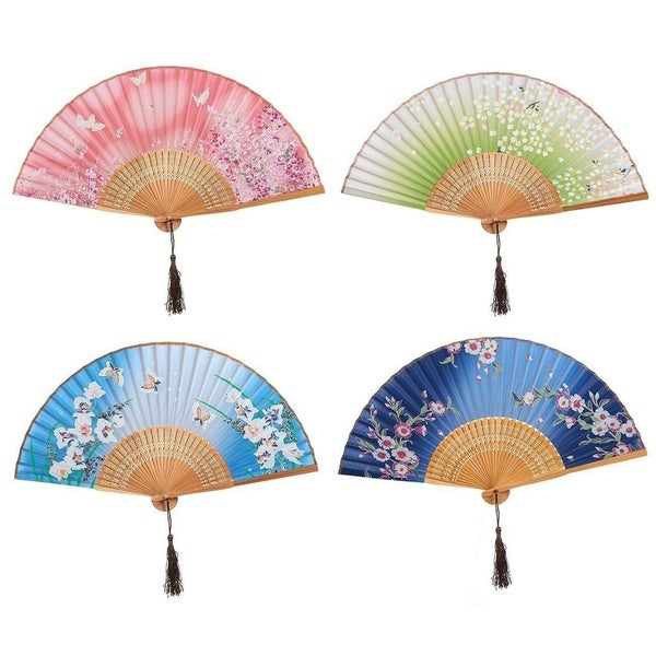 4-Piece Folding Fans, Hand-held Fan for Women, 4 Different Japanese Style Design