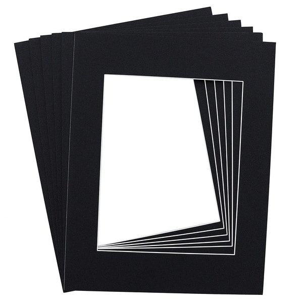15-Pack Black 11 x 14 Inch Picture Matted Frame Boards for 8 x 10 Inches Photos
