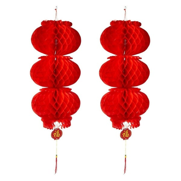 """2-Piece Red Chinese Lanterns for Lunar New Year, Spring Festivals, 10.8 x 35.7"""""""