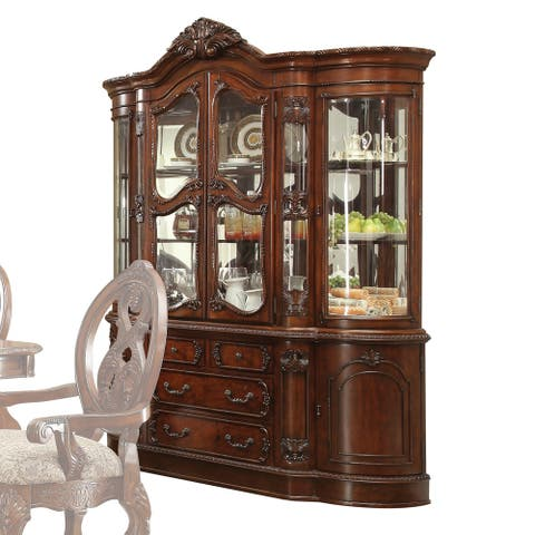 Wood And Glass Hutch And Buffet With Multi Storage Space, Cherry