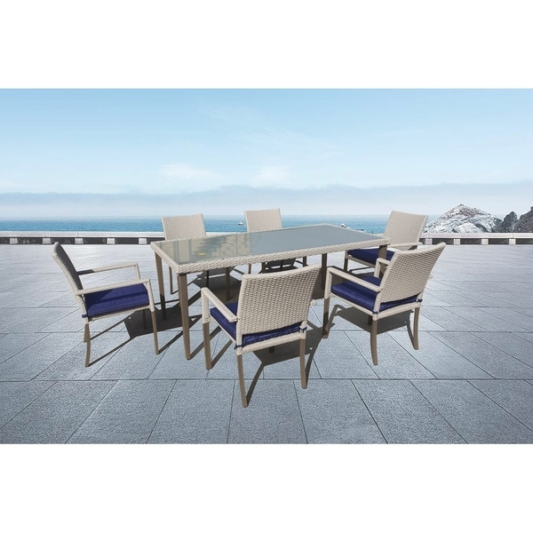 Outdoor 7-piece Rectangle Wicker Dining Set with Cushions by Moda Furnishings