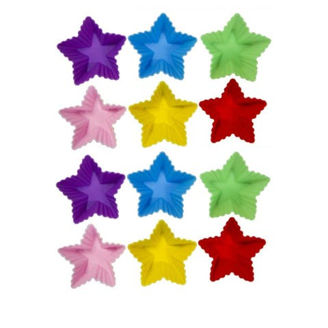 """12-Pack Silicone Cupcake Liners Star Reusable Muffin Mold Baking Cups Pastry 3"""""""