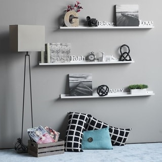 "Link to 22"" 46"" Floating Picture Display Ledge Wall Mount Shelf  Denver Modern Design White Similar Items in Accent Pieces"