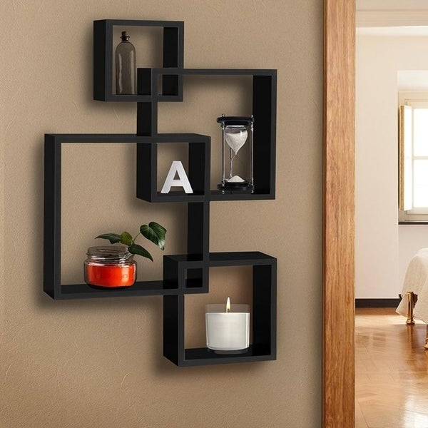 Set of 4 Intersecting Decorative Color Wall Mount Shelf