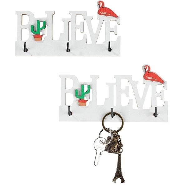 Wooden Key Holder for Wall - 2-Count Wall Mounted Key Hook, 5.875x1x3.125 Inches