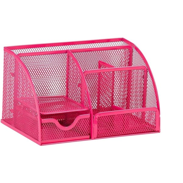 Paper Junkie Pink Mesh Office Supplies Desk Organizer Caddy, 7 Compartments
